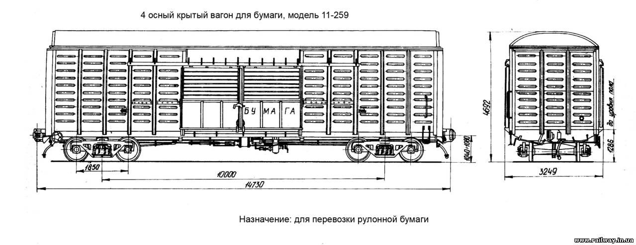 4-осный крытый вагон для перевозки рулонной бумаги.