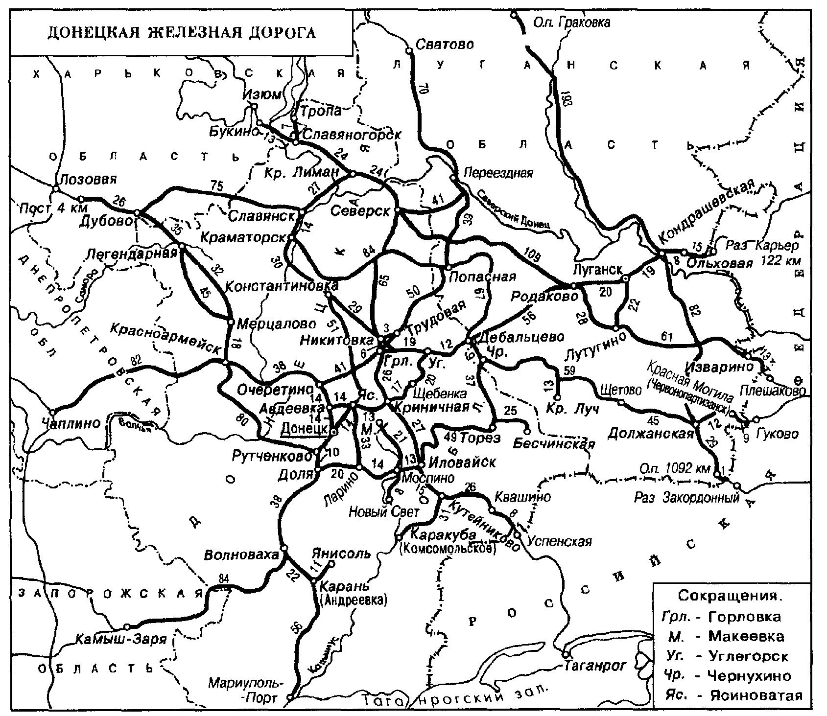 железная дорога украины схема
